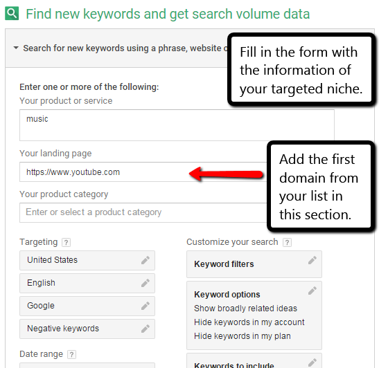 keyword research with added domains