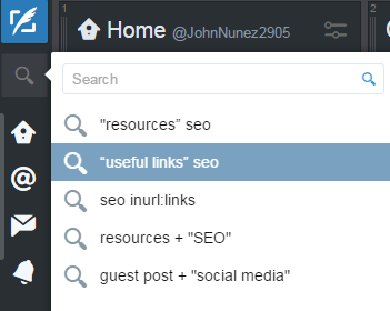 Twitter for SEO - TweetDeck search