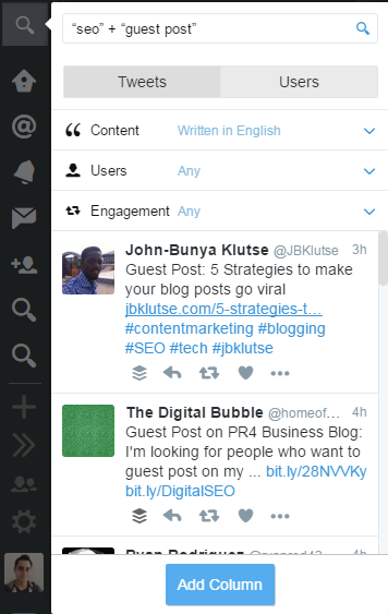 TweetDeck - Guest blogging stream