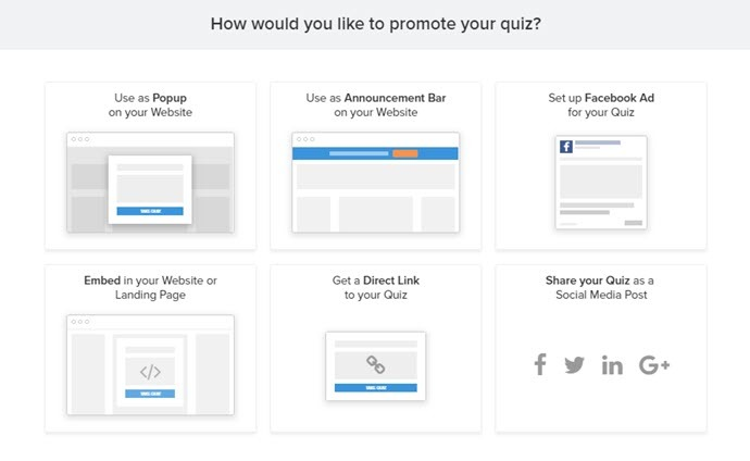 This image shows the different methods you can use to promote your new quiz
