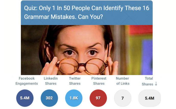 This is an example of a viral quiz I found on BuzzSumo