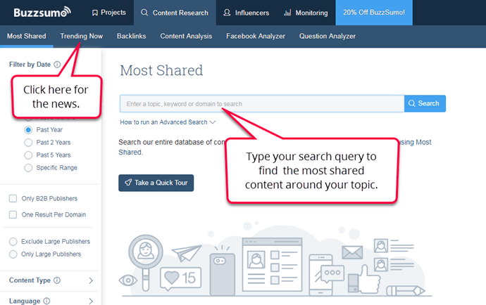 BuzzSumo - most shared content ux