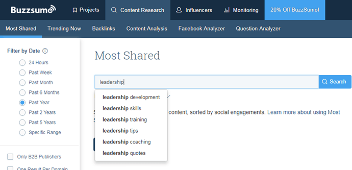 BuzzSumo - most shared search box example