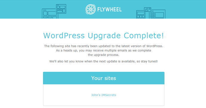 Flywheel review - WordPress upgrade email
