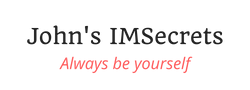 "John's IMSecrets logo with the ""Always be yourself"" slogan"