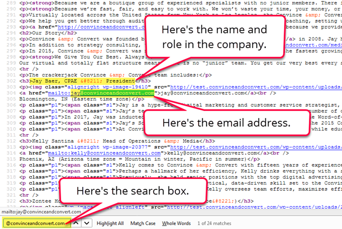 How to find someone's email address in the source code.