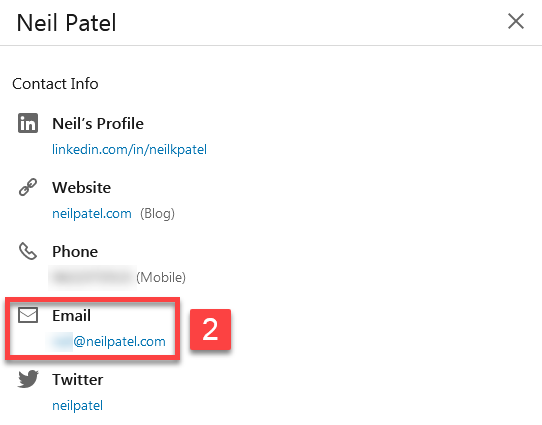 Finding someone's email on LinkedIn's contact info part2