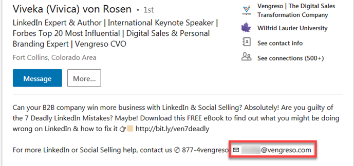 How to find someone's email on LinkedIn's summary