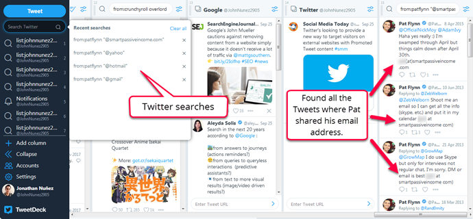 TweetDeck advanced search (finding an email address)
